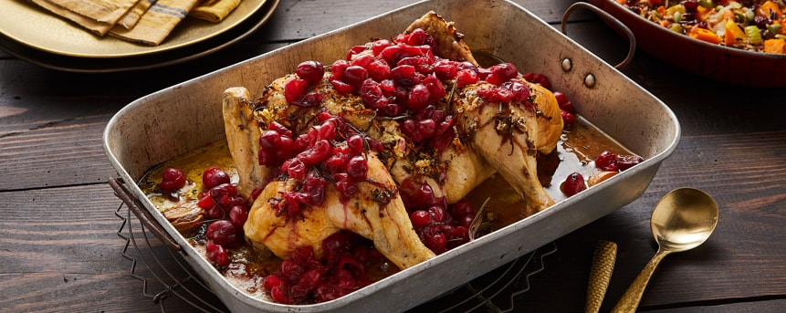 Garlic, Rosemary and Cranberry Roast Chicken
